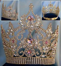 Continental Rhinestone Gold Pink Crown tiara