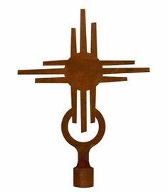Large New Mexico Sun Metal Lamp Finial