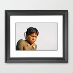 A'uwe Uptabi (True Xavante) Indigenous Warrior Framed Art Print by David Hernández-Palmar - $32.00