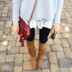 layered sweater with lace, black leggings, and a cute boot and purse. My going out for the day look.