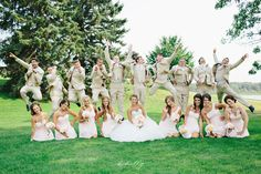 a fresh take on the jumping shot - nothing wrong with having a little fun!  //  wedding photography inspiration