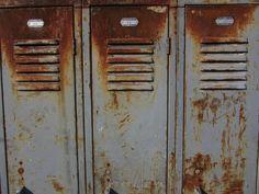 Industrial Metal Storage Lockers Rusted Gray by TheOldTimeJunkShop