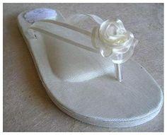 Wedding Flip Flops, Bridal Flip-Flops, Ivory Flip Flops for Bride, Shoes for Beach Wedding, Wedding Wedges