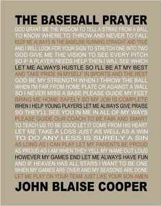 The Baseball Prayer personalized 11 X 14 by joflo33us on Etsy. So cute!