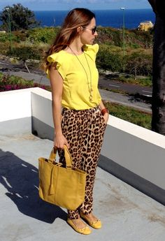 Animal print + yellow  , Zara in Shirt / Blouses, Zara in Pants