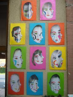 Portraits - Picasso--do the photo and then have the students paint a separate piece based on the photo. Portrait Picasso, Art Picasso, L'art Du Portrait, Cubist Portraits, Pablo Picasso, Classe D'art, 3rd Grade Art, Ecole Art, School Art Projects