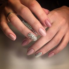 Rose, nude and silver winter nail art design. The combination of these shades of pink are absolutely perfect as well as the silver dust polish and silver beads complement the theme as well.