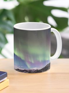 """Panorama of the Northern Lights"" Mug by roamer   Redbubble Olsen, Custom Mugs, Northern Lights, Ceramics, Canning, Tableware, Ceramica, Pottery, Dinnerware"