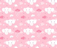 Elephant Clouds on pink fabric by nossisel on Spoonflower - custom fabric