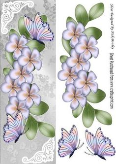 Cascading lilac flowers with rainbow butterflies tall DL on Craftsuprint - Add To Basket!