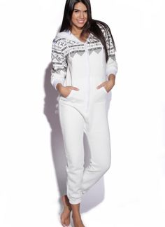 White Long Sleeve Hooded Onesie with Aztec Print Detail