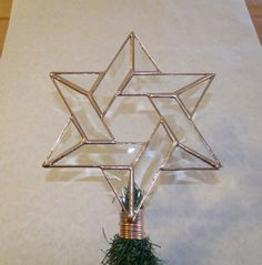 Beveled Glass Tree Topper Rustic Interfaith Star by cityfreeglass Star Tree Topper, Tree Toppers, Hanukkah Bush, Gift Wrapping Services, No Plastic, Star Of David, Christmas Decorations, Holiday Decor, Beveled Glass