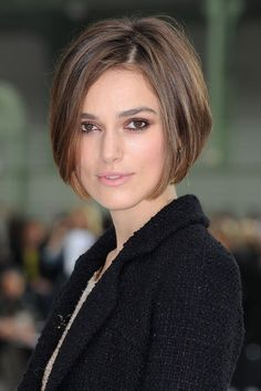Thanksdark low lights in carmel brown hair +beveled chin length bob awesome pin