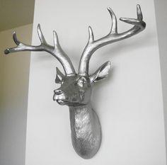 Platinum Deer Head, Faux Taxidermied, Deer Head, Faux Taxidermy, Stag Head, Fake Deer Head. $79.00, via Etsy.
