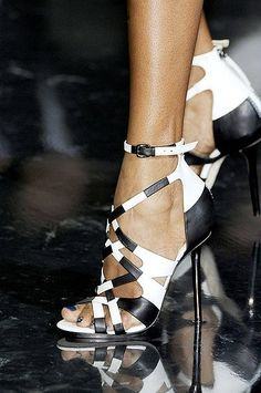 Gianmarco Lorenzi ~ Leather High Heel Sandals, Black/White