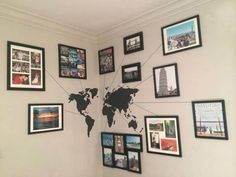 World Map Wall Sticker is a decorative and educational item that can be applied to the walls of your playroom, living room or child's bedroom. Also, you can hang your favorite travel photos and use ta Home Living Room, Living Room Designs, Living Room Decor, Bedroom Decor, Nursery Decor, Bedroom Ideas, Travel Room Decor, Travel Bedroom, Home Decoracion