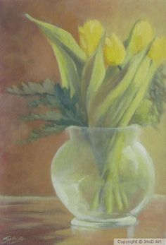 A series of various floral arrangements and still life Round Vase, Portfolio Images, Yellow Tulips, Still Life, Floral Arrangements, Fine Art, Gallery, Artwork, Painting