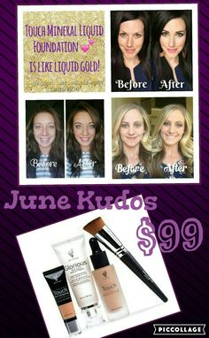 June Kudos. $99 Flawless foundation bundle that includes a free Fondation brush. #younique