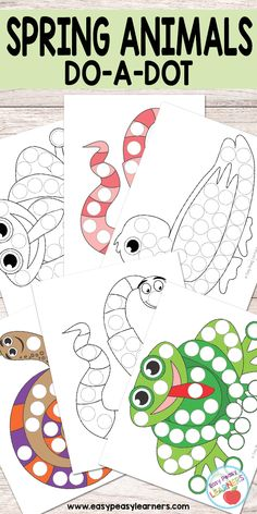 Free Spring Animals do a dot printables - frog, duck, worm and snail dot-a-dot dot a dot missy's note: good site Free Preschool, Preschool Printables, Preschool Activities, Frog Crafts Preschool, Worm Crafts, Spring Activities, Toddler Activities, Pond Animals, Dots Free