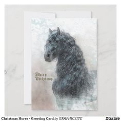 Christmas Horse - Greeting Card Christmas Is Coming, Christmas Holidays, Christmas Gifts, Christmas Decorations, Xmas, Winter Horse, Christmas Horses, Beautiful Christmas Cards, Thanksgiving Games