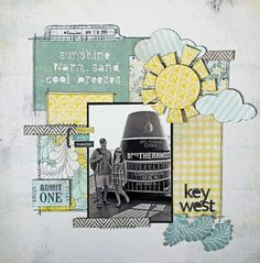 #papercraft #scrapbook #layout    Key West - Two Peas in a Bucket | Love the sun and clouds here. : )
