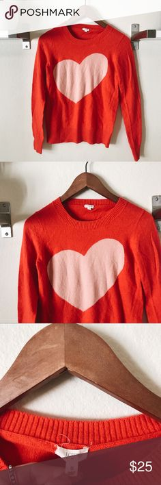 J Crew Factory Heart Sweater Darling XS heart sweater from J Crew Factory. I️ love the asymmetrical heart. Plus this is soooooo soft. Size XS. Excellent condition. MEASUREMENTS: 🌸 Length: 23in 🌸 Armpit to armpit: 16in. NO TRADES. Feel free to ask questions! J. Crew Factory Sweaters Crew & Scoop Necks
