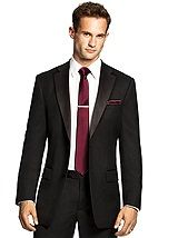 black tux with eggplant accessories for the groomsmen (not the red ...