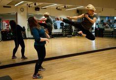 | Stuntwoman Zoe Bell in flight.