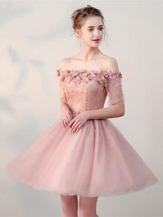 handmade dresses A line Party Dresses, Purple Prom Dresses, Short Party Dresses With Flower Short Sleeve Off-the-Shoulder Homecoming Dresses from customdresskoko Cheap Prom Dresses, Quinceanera Dresses, Sexy Dresses, Evening Dresses, Short Dresses, Fashion Dresses, Formal Dresses, Cheap Dress, Cheap Tulle