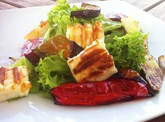 Grilled Halloumi and Roasted Vegetables Salad Recipe