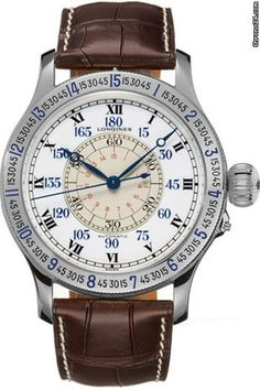 Longines Heritage Lindberg Hour Angle chronograph steel case with leather bracelet and automatic movement
