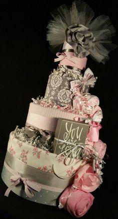 Pink & Grey Damask Diaper Cake $70.00