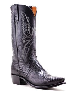 Mens Lucchese Black Lizard Boots N9389.54 - Texas Boot Company is located in Bastrop, Texas. www.texasbootcompany.com