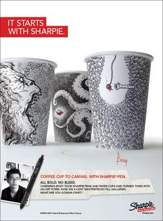 Amazing Sharpie artwork on paper cups by Cheeming Boey.