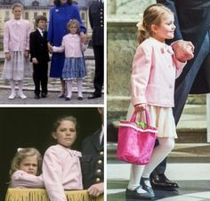 Princess Estelle at the Te Deum church service giving thanks for the safe arrival of Prince Oscar, 3 March 2016 (right photo) - she is wearing the same jacket that her aunt, Princess Madeleine wore when she was a child.