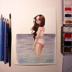 #девочка #акварель #море Iconosquare – Instagram webviewer