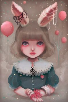 Ludovic Jacqz - Juliette, balloons  pearls, kawaii girl with rabbit ears