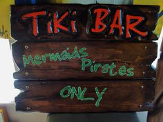 Hand Carved Tiki Bar Sign by Tiki Tyler… look him up! Tiki Tiki, Tiki Hut, Tiki Bar Signs, Hawaiian Luau Party, Tiki Mask, Directional Signs, Summer Pool, Florida Home, Timeline Photos