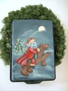 Pipka Santa Calus Tole Painted | tole painting santa claus on recyled pan at etsycom by AJSPASTIME, $32 ...
