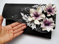 Floral bag Painted leatherLeather clutchWhite flowers