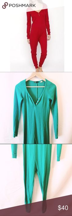 UO BDG Teal thermal V neck onesie pajamas SOLD OUT!! in good condition, no stains or tears or signs of wear. Super cute and cozy! Urban Outfitters Intimates & Sleepwear Pajamas