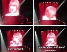 haha i wondered if this ever happened when singers were performing!...got to love her humor!