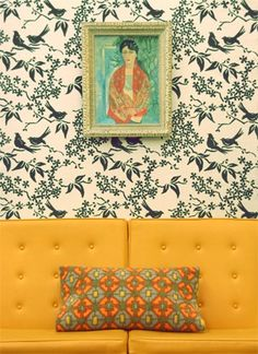 the unusual combination of color and pattern is so intriguing--adore the wallpaper with the birds.