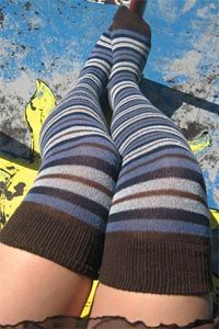 Nuit Striped Over the Knee - Blues banded with dark brown place these OTKs somewhere between the sky and earth, but we just think they're heavenly. Made in the USA. My Socks, Knee Socks, Cool Socks, Calf Length Skirts, Blue Band, Colorful Socks, Red Shorts, Blue Brown, Autumn Winter Fashion