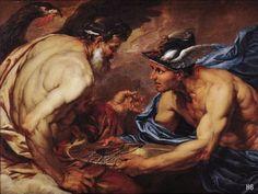 Mercury Presenting Thunderbolts to Jupiter. Giovanni Battista Langetti. Italian. 1635-1676. oil on canvas.