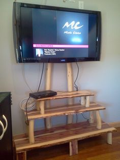 Superbe White Cedar Flatscreen T.v. Stand With Log Stands By Holymonkey, $350.00
