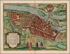 Magdeburg was called Parthenopolis (virgin city) after Venus, who was once worshipped here: it is the capital of Saxony, remarkable for its wealth and power and known for its narrow city walls and its proximity to the Elbe 1572 George Braun - Barry Lawrence Ruderman Antique Maps Inc.