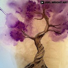 Purple watercolor tree tattoo. Thanks for looking | Flickr - Photo ...