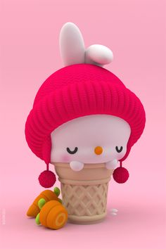 Kawaii rabbit ice cream cone with carrots