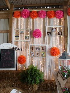 not this exactly...BUT the curtain with lights and hay bails is a great idea for photo booth background